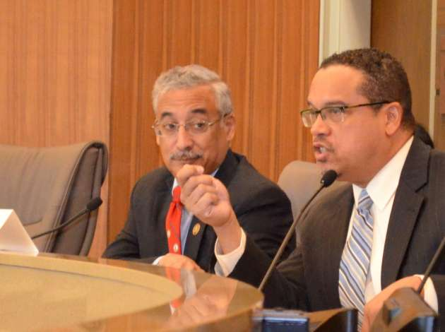 U.S. Reps. Bobby Scott (left), of Virginia, and Keith  Ellison, of Minnesota, speak about issues affecting the working poor Tuesday at Richfield City Hall.  Credit: Photo by Nate Gotlieb