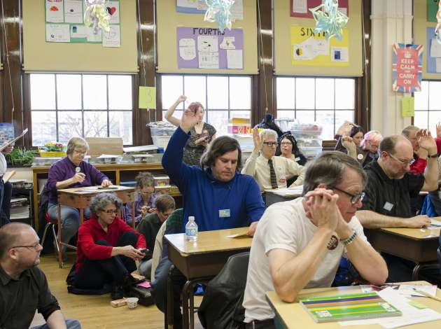 A scene from a Minneapolis DFL caucus in 2013.  Credit: File photo