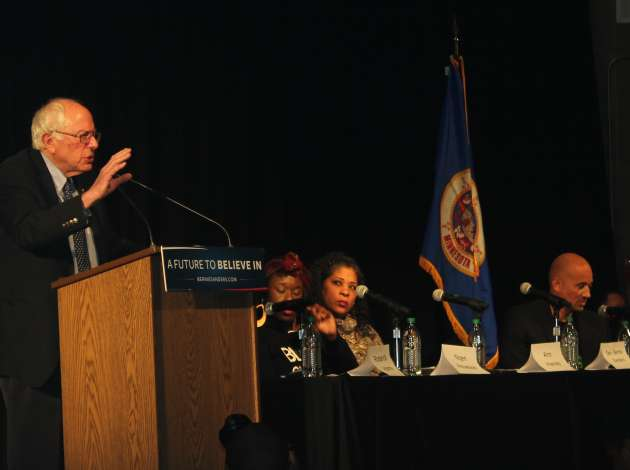 Presidential candidate Bernie Sanders at NOC's forum at Patrick Henry High School on Feb. 5.  Credit: Sarah McKenzie