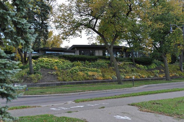 A mid-century modern home at 2505 E. Lake of the Isles Pkwy is demolished to make way for a new home on the lot. Photo courtesy of city of Minneapolis