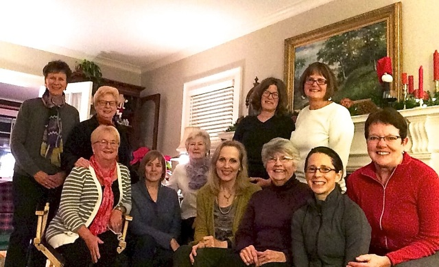 Members of the West 53rd Street Sewing Club pose for a holiday photo. Submitted photo