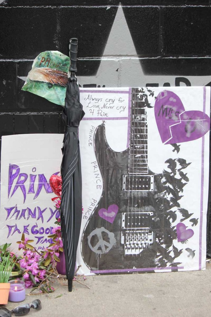 One of the many tributes for Prince at First Avenue. Photo by Sarah McKenzie