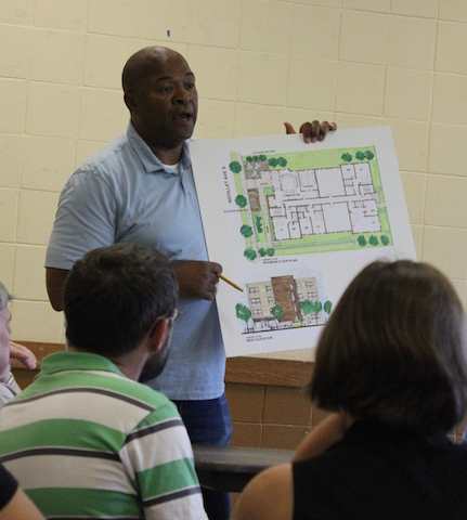 Randy Hobbs, pictured with an apartment proposal for 3329 Nicollet Ave. File photo