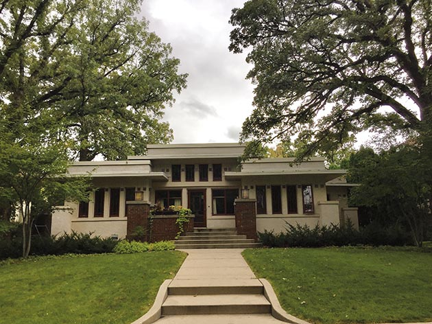 The Benjamin and Cora Franklin House is an example of Prairie Style architecture.