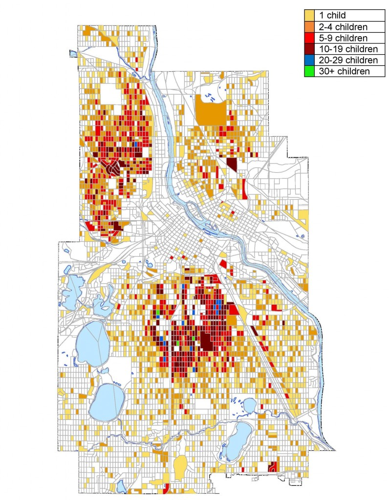 Minneapolis City Blocks Where Children Under Six Years Old Were Poisoned By Lead At A Level of ≥5μg/dl, 1999-2014