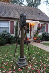 """""""Baggage"""" by sculptor Rian Kerrane in Driessen's front yard. Photo by Dylan Thomas"""