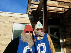 Volunteer escorts Lindsay Stockwell and Andrea Upin welcome Planned Parenthood guests and patients last winter. The nonprofit is one of several to see a surge in volunteer interest since the Nov. 8 election. Photo courtesy Planned Parenthood Minnesota, North Dakota, South Dakota