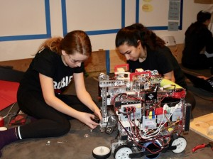 Rubies robotics team members Isabella Kemling and Ava Kian work on their robot over winter break. Photo by Nate Gotlieb