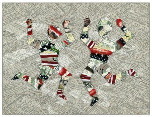 David McLimans' 1994 mixed media collage illustration for The Progressive. Submitted image