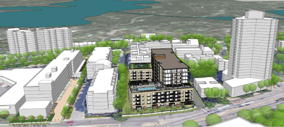 9-Story tower with westerly 4-story extensions facing Loop-Calhoun Condominiums. Source: Brickstone Partners and ESG Architects