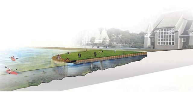 A semi-circular pier near the Lake Harriet Band Shell could provide access to the water and help capture water pollutants. Image courtesy of Minneapolis Park and Recreation Board