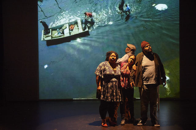 "The Frank Theatre production ""Citizen,"" now playing at Intermedia Arts, explores contemporary racism. At one point in the show, actors reflect on images of Hurricane Katrina. Photo by Tony Nelson"