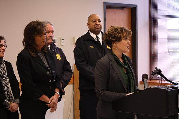 Mayor Betsy Hodges and Minneapolis Police Chief Janée Harteau responded to the federal report Monday. Photo by Dylan Thomas