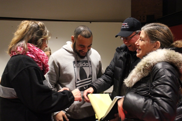 "Four descendants of Cloud Man at a recent Minneapolis Park and Recreation Board meeting. Pictured (l to r) are Lisa Ferguson, Nate Beulah, Syd Beane and Linda Lamont. Beulah teaches at Northeast Middle School, and he says youth must learn the forgotten history of the Dakota. ""People need to know the history of this land,"" he says."