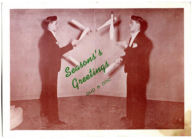 A holiday card featuring a young Riggs' mirror juggling act. Photo courtesy Dudley Riggs