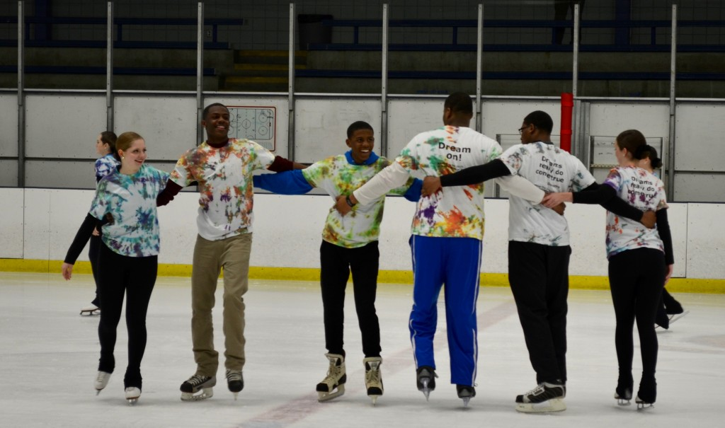 Members of the North boy's basketball team and the Braemar Panache Figure Skating team perform a routine during the April 15 show.
