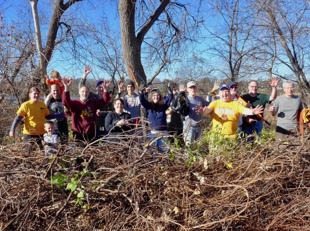 Volunteers work to clean up invasive species near Diamond Lake. Photo courtesy Friends of Diamond Lake
