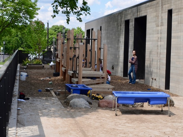 A view of the new playground outside of Temple Israel's renovated early childhood wing. Photo by Nate Gotlieb