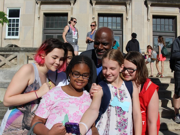 Former Minnesota Supreme Court Justice Alan Page takes a selfie with students at the newly named Justice Page Middle School on June 14. Photo by Nate Gotlieb