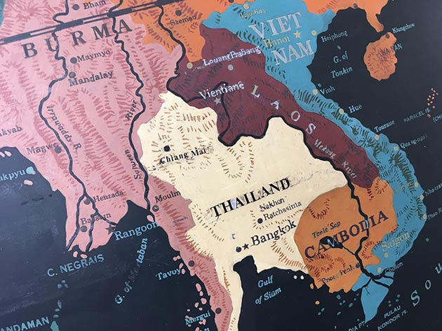 Detail of Southeast Asia, where a previous restoration in 1978 changed the name of Siam to Thailand. Photo by Steve Brandt
