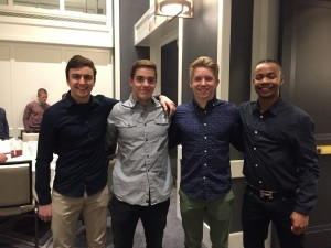 Henry Meeker (left) is one of four gymnasts who will be joining the Minnesota men's gymnastics team this fall. Also joining him are (from left to right) Colton Dee, Shane Wiskus and Russell Johnson. Photo courtesy University of Minnesota Athletics Department