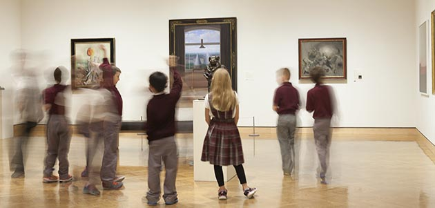 MIA permanent collection galleries with visitors; January 2015