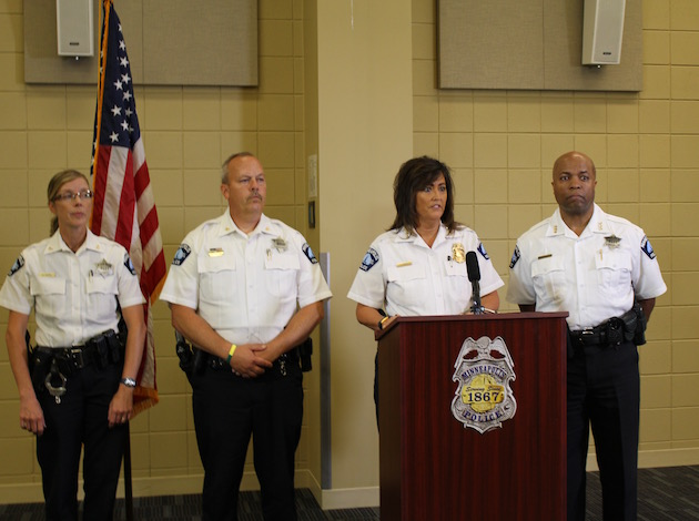 From left to right: Minneapolis Police Department inspector Kathy Waite and Mike Kjos, Chief Janeé Harteau and Assistant Chief Medaria Arradondo at a press conference Thursday to address the fatal police shooting of Justine Ruszczyk.