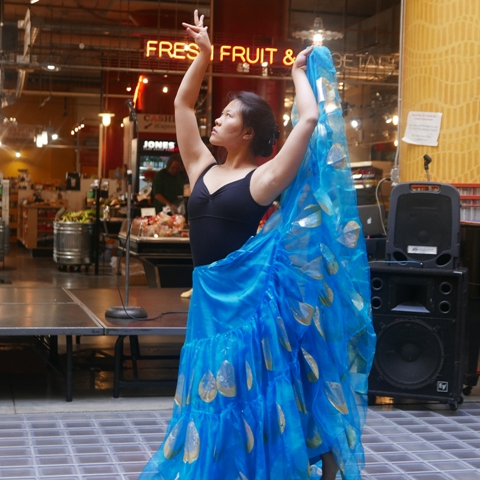 Julia Gay performs an excerpt from her one-woman show Motherland as part of Lake Street Arts! At The Market.