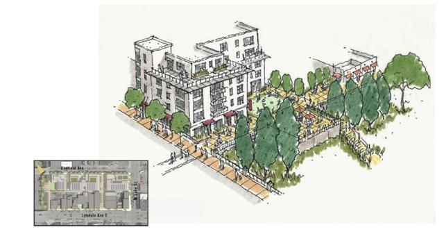 "A Garfield lot ""character sketch"" featuring a connection to the 29th Street woonerf. The sketch is not a formal proposal or plan. Image courtesy of LynLake Parking Committee"