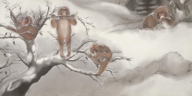 "One of 12 panels in a scroll-like ink-on-paper painting, ""Snow Monkeys at Play in Autumn and Winter."" Submitted image"