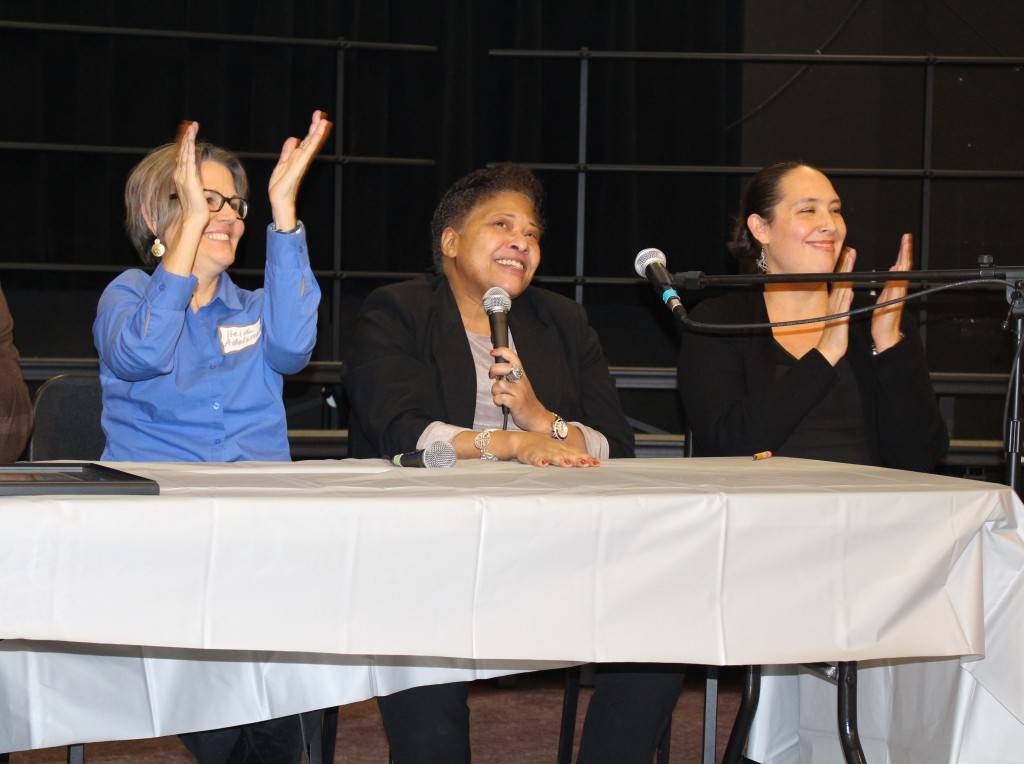 Former Hale/Field students (from left to right) Heidi Adelsman, Cindy Booker and Zamara Cuyún during a panel at the pairing anniversary event.