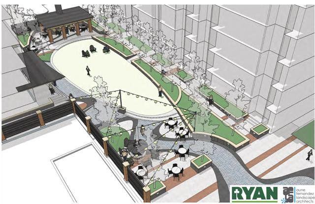 A rendering of the outdoor space at the Sons of Norway project. Image courtesy of Ryan Companies