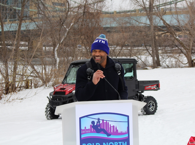 Former Minnesota Vikings safety and XOOX brand founder Robert Griffith speaks at a press conference Dec. 14 about plans for a zip line during the Super Bowl festival. Photo by Nate Gotlieb