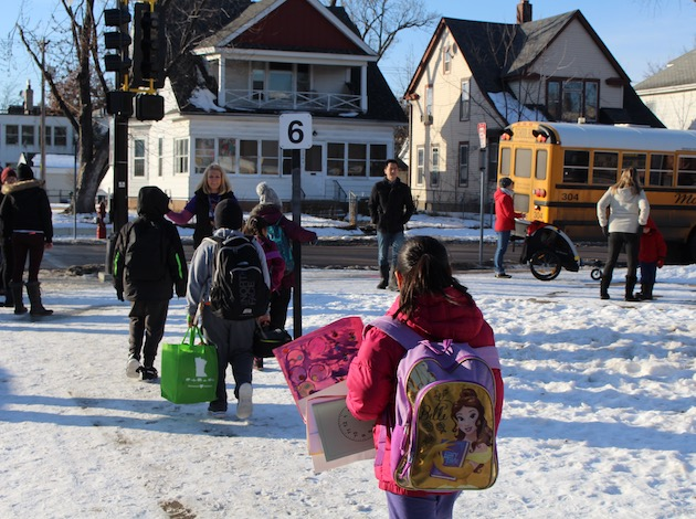 Lyndale students leave school on a recent afternoon.