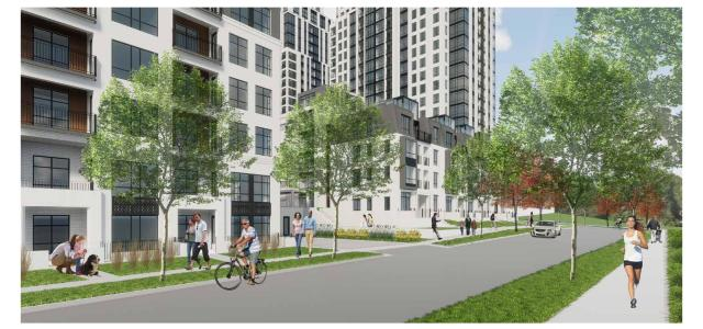 A view of proposed development at Calhoun Towers looking north along Abbott Avenue.