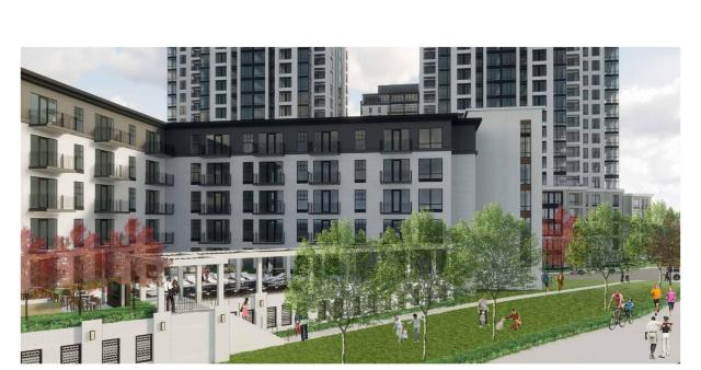 The proposed view from the Midtown Greenway.
