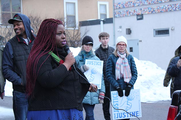 Nekima Levy-Pounds urged Damond's neighbors to use their influence to change the police department. Photo by Dylan Thomas