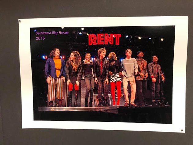 """Ronan Pirner (center) and the Southwest High School cast of """"Rent."""""""