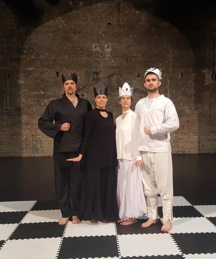 Gleason's son Wes Cannon (far right) played one of the kings in her dance reenactment of a famous 19th century chess game.