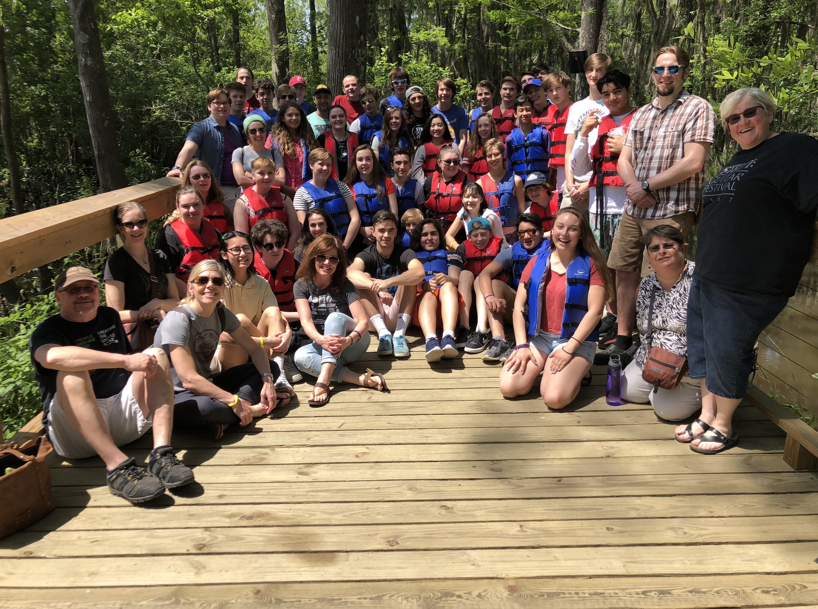Students in the Southwest High School guitar orchestra stop for a picture during a recent tour to New Orleans. Program director Ruth LeMay is pictured far right. Photo courtesy Ruth LeMay