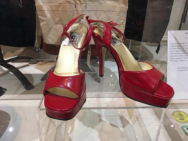 Marield Caswell, a former exotic dancer who performed at the Roaring 20s near 5th & Hennepin in the 1970s and '80s, donated this pair of shoes worn on stage to the museum. Caswell used the earnings from her job to pay her medical school tuition. Photo by Dylan Thomas