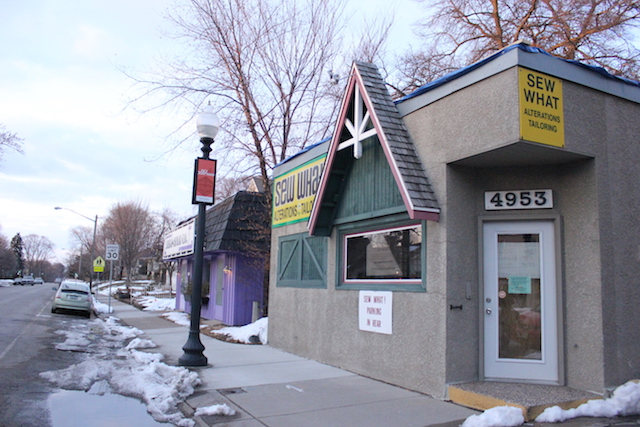 The Sew What building at 4953 Xerxes Ave. S. is now slated to become a restaurant. Sew What directs customers to 6002 Excelsior Blvd in St. Louis Park.