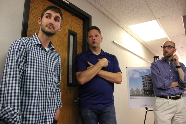 Yellow Tree Development Corporation co-founders Bryan Walters (l) and Robb Lubenow (center), pictured with Sheldon Berg of DJR Architecture (r).