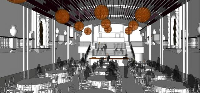 A rendering of event space proposed for the renovated theater.