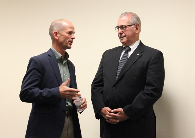 Hennepin County Attorney candidates Mark Haase (l) and incumbent Mike Freeman at an October forum. Photo by Michelle Bruch