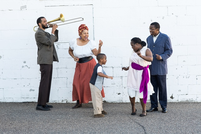 Cast members include (l to r) Jeremy Phipps, Zena Moses, Messiah Moses Albert, Naa Mensah and Michael Wolfe. Photo courtesy of Interact Center