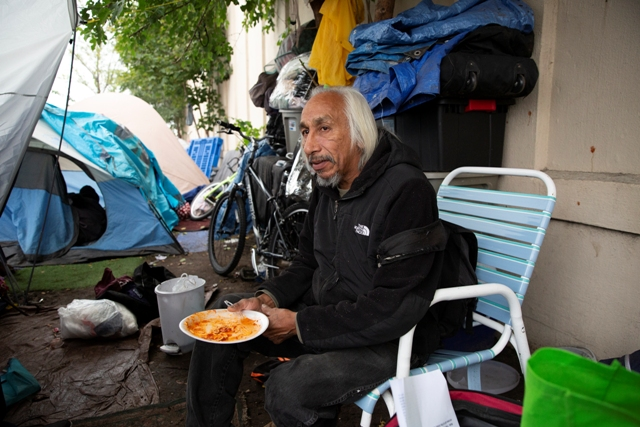Francis Took at the Minneapolis homeless encampment on Sep 27, 2018. Photo by Chris Juhn