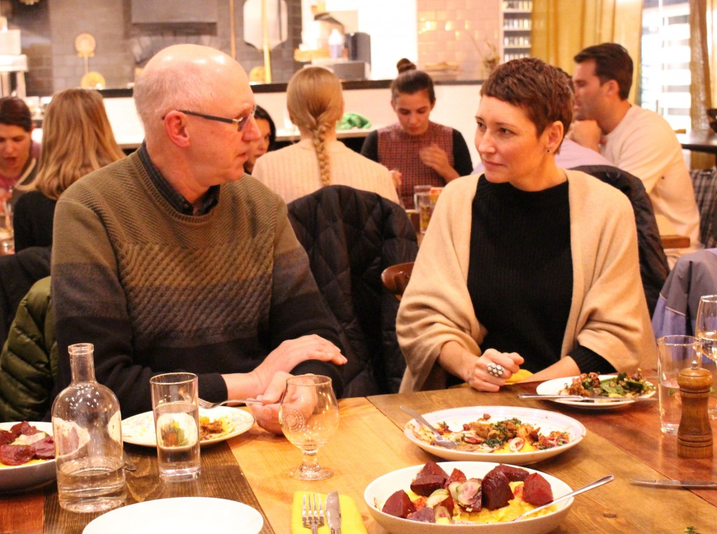 Michelle Courtright, owner of Fig + Farro, speaks with Craig Johnson at the Nov. 12 event.