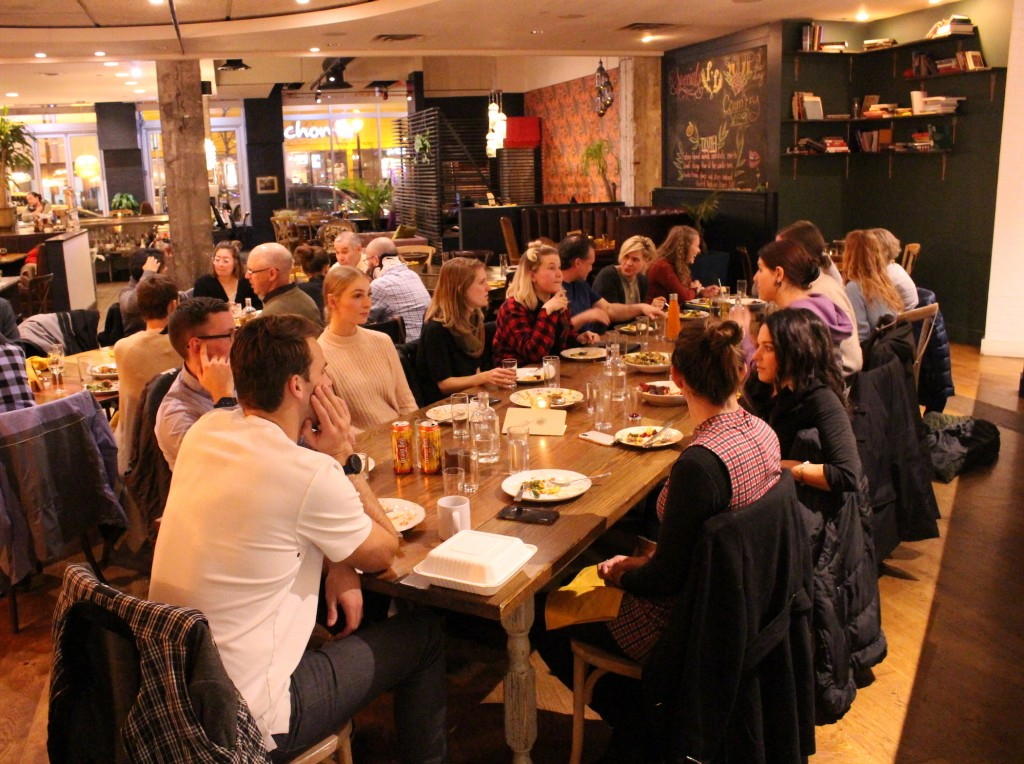 About two dozen people attended Fig + Farro's climate salon event on Nov. 12.