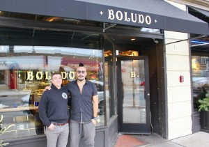 Co-owners Teddy Kordonowy,left, and Facundo De Fraia stand outside their new restaurant Boludo at Nicollet & 38th. Photo by Andrew Hazzard.